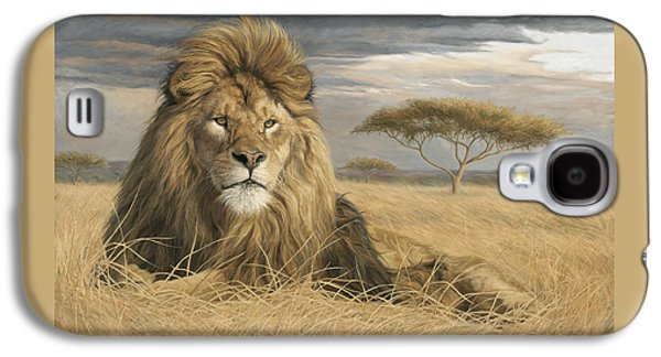 Male Paintings Galaxy S4 Cases - King Of The Pride Galaxy S4 Case by Lucie Bilodeau
