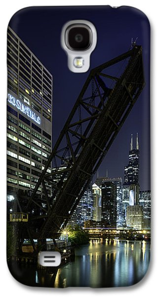 City Scape Galaxy S4 Cases - Kinzie Street railroad bridge at night Galaxy S4 Case by Sebastian Musial