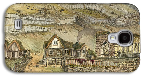 Building Drawings Galaxy S4 Cases - Kirk G boe Inn and ruins Faroe Island Circa 1862 Galaxy S4 Case by Aged Pixel