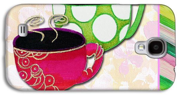 Tea Party Paintings Galaxy S4 Cases - Kitchen Cuisine Tea Party Napkin Design 1 by Romi and Megan Galaxy S4 Case by Megan Duncanson