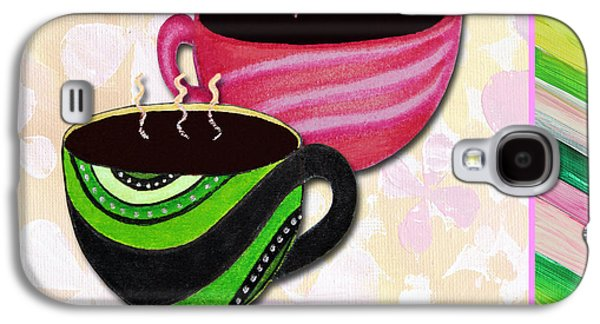 Tea Party Paintings Galaxy S4 Cases - Kitchen Cuisine Tea Party Napkin Design 3 by Romi and Megan Galaxy S4 Case by Megan Duncanson
