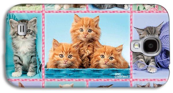 Greg Cuddiford Digital Art Galaxy S4 Cases - Kittens Gingham Multi-pic Galaxy S4 Case by Greg Cuddiford