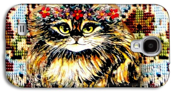 Animals Jewelry Galaxy S4 Cases - Kitty Wooden Pin Galaxy S4 Case by Natalie Holland