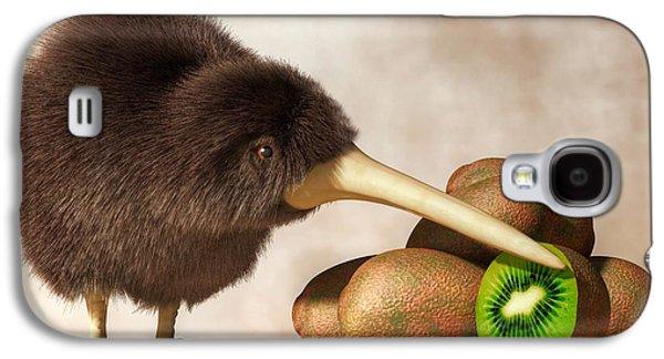 Kiwi Bird And Kiwifruit Galaxy S4 Case by Daniel Eskridge