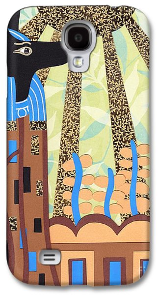 Drawing Reliefs Galaxy S4 Cases - Klimts Paper Anubis Galaxy S4 Case by Sarah Durbin
