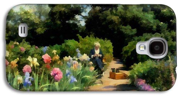 Garden Scene Galaxy S4 Cases - Knitting In The Garden Galaxy S4 Case by Peder Mork Monsted