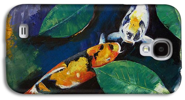 Two Colors Paintings Galaxy S4 Cases - Koi and Banyan Leaves Galaxy S4 Case by Michael Creese