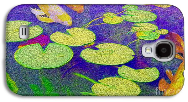 Fish Mixed Media Galaxy S4 Cases - Koi Fish Under the Lilly Pads  Galaxy S4 Case by Jon Neidert