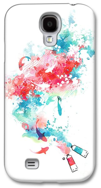 Fish Pond Galaxy S4 Cases - Koi Life In Water Color Galaxy S4 Case by Budi Satria Kwan