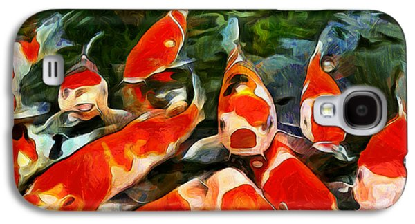 Goldfish Mixed Media Galaxy S4 Cases - Koi Galaxy S4 Case by Marion Daly
