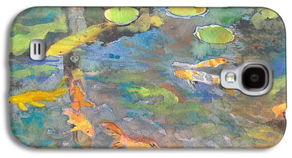 Goldfish Mixed Media Galaxy S4 Cases - Koi Pond 1 Galaxy S4 Case by Susan Powell