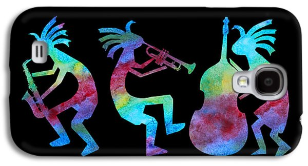 Multicolored Digital Galaxy S4 Cases - Kokopelli Jazz Trio Galaxy S4 Case by Jenny Armitage