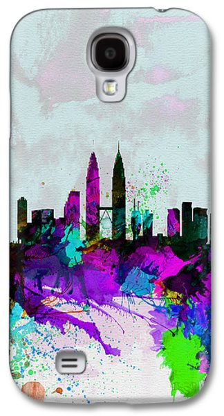 European City Digital Art Galaxy S4 Cases - Kuala Lumpur Watercolor Skyline Galaxy S4 Case by Naxart Studio