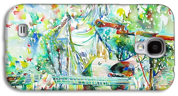 Singing Paintings Galaxy S4 Cases - KURT COBAIN playing the guitar - watercolor portrait Galaxy S4 Case by Fabrizio Cassetta