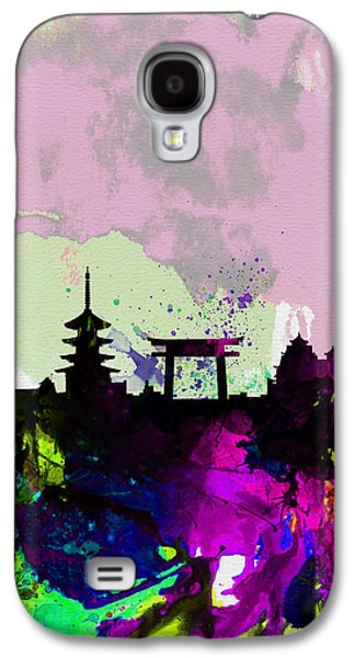 Downtown Digital Galaxy S4 Cases - Kyoto Watercolor Skyline Galaxy S4 Case by Naxart Studio