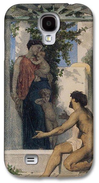 Romaine Galaxy S4 Cases - La Charite Romaine Galaxy S4 Case by William Bouguereau