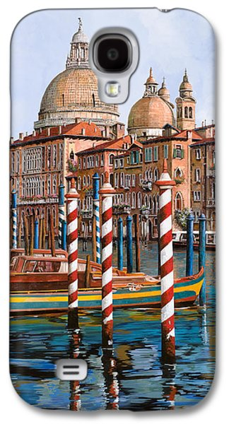 Docked Boat Galaxy S4 Cases - La Chiesa Della Salute Sul Canal Grande Galaxy S4 Case by Guido Borelli