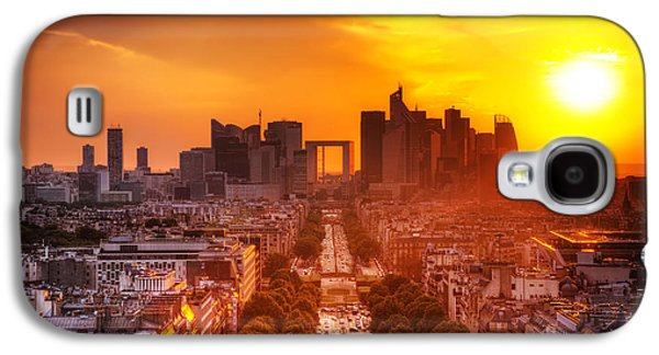 Enterprise Galaxy S4 Cases - La Defense and Champs Elysees at sunset Galaxy S4 Case by Michal Bednarek