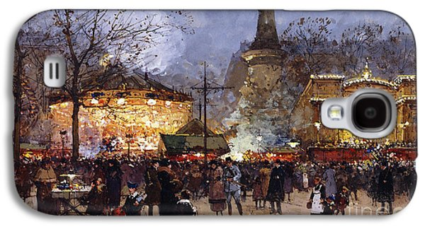Street Drawings Galaxy S4 Cases - La Fete Place de la Republique Paris Galaxy S4 Case by Eugene Galien-Laloue