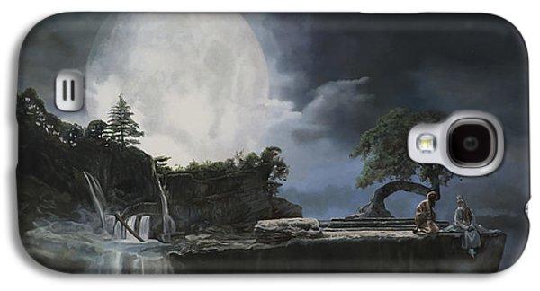 Moon Paintings Galaxy S4 Cases - La Luna Bianca Galaxy S4 Case by Guido Borelli