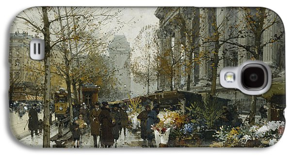 Street Drawings Galaxy S4 Cases - La Madelaine Paris Galaxy S4 Case by Eugene Galien-Laloue