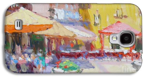 Lake Como Paintings Galaxy S4 Cases - La Piazza Galaxy S4 Case by Jerry Fresia
