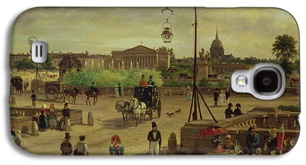Dog In Landscape Galaxy S4 Cases - La Place de la Concorde Galaxy S4 Case by Giuseppe Canella