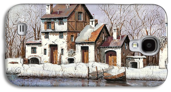 Snow Paintings Galaxy S4 Cases - La Prima Neve Galaxy S4 Case by Guido Borelli