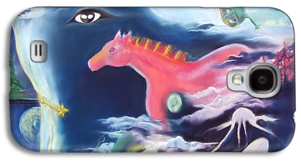 Window Pastels Galaxy S4 Cases - La Reverie du Cheval Rose or Dream Quest of the Pink Horse. Galaxy S4 Case by Marie-Claire Dole