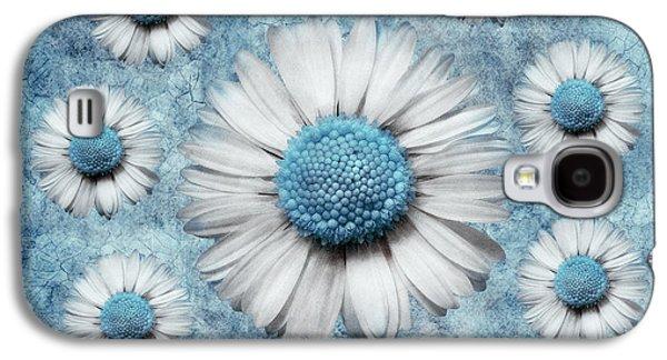 Floral Digital Art Digital Art Galaxy S4 Cases - La Ronde Des Marguerites - Blue v02 Galaxy S4 Case by Variance Collections