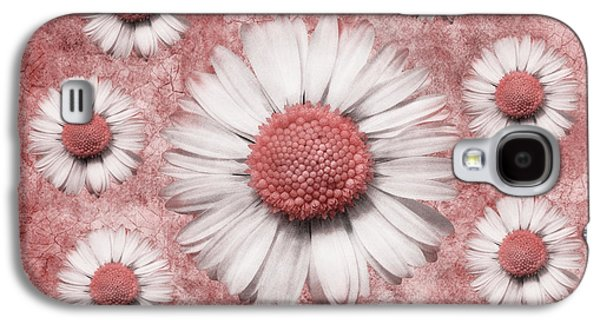 Floral Digital Art Digital Art Galaxy S4 Cases - La Ronde Des Marguerites - Pink 02 Galaxy S4 Case by Variance Collections