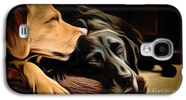 Chocolate Lab Digital Art Galaxy S4 Cases - Lab Love Galaxy S4 Case by Larry Espinoza