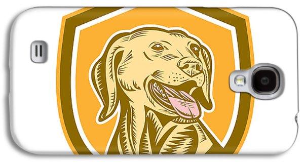 Labrador Digital Galaxy S4 Cases - Labrador Dog Head Shield Woodcut Galaxy S4 Case by Aloysius Patrimonio