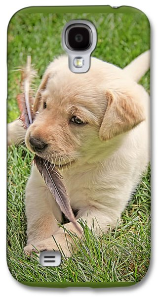 Puppies Galaxy S4 Cases - Labrador Retriever Puppy and Feather Galaxy S4 Case by Jennie Marie Schell