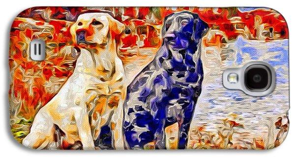 Puppies Digital Art Galaxy S4 Cases - Labrador Retrievers Color Splash Galaxy S4 Case by Scott Wallace
