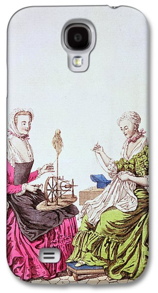 Ladies Spinning And Sewing, C.1765 Colour Engraving Galaxy S4 Case by .