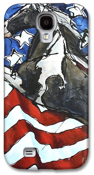 Stars And Stripes Paintings Galaxy S4 Cases - Lady C Salutes Galaxy S4 Case by Jonelle T McCoy