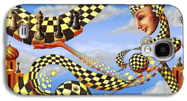 Golden Fish Paintings Galaxy S4 Cases - Lady Chess. Lets play the game Galaxy S4 Case by Sergey Malkov