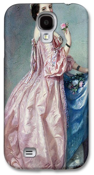 Alluring Paintings Galaxy S4 Cases - Lady holding Flowers in her Petticoat Galaxy S4 Case by Augustus Jules Bouvier