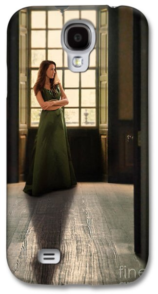 Ball Gown Photographs Galaxy S4 Cases - Lady in Green Gown by Window Galaxy S4 Case by Jill Battaglia
