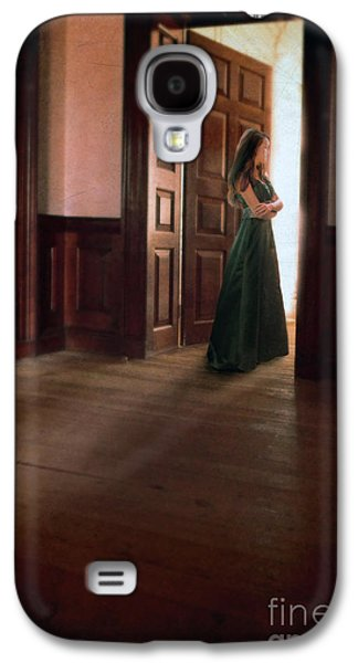 Ball Gown Photographs Galaxy S4 Cases - Lady in Green Gown in Doorway Galaxy S4 Case by Jill Battaglia