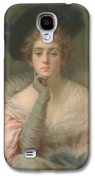Portraits Pastels Galaxy S4 Cases - Lady in Pink Galaxy S4 Case by Joseph W Gies