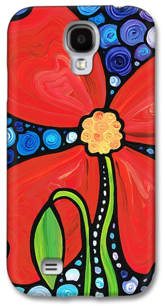 Red Abstract Paintings Galaxy S4 Cases - Lady in Red 2 - Buy Poppy Prints Online Galaxy S4 Case by Sharon Cummings