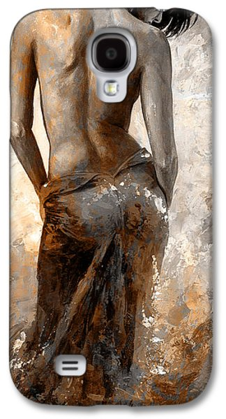Nudes Digital Galaxy S4 Cases - Lady in Red #27 digital colored Rust Galaxy S4 Case by Emerico Imre Toth