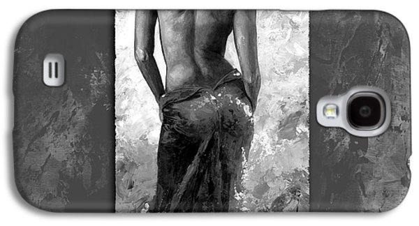 Nudes Digital Galaxy S4 Cases - Lady in red 27 style Black and White Galaxy S4 Case by Emerico Imre Toth