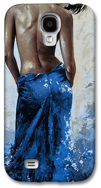 Nudes Paintings Galaxy S4 Cases - Lady in red 27RE blue color version large Galaxy S4 Case by Emerico Imre Toth