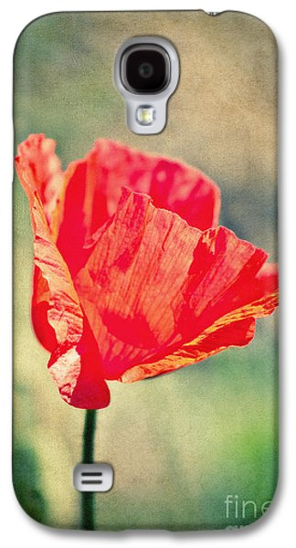 Sunny Mixed Media Galaxy S4 Cases - Lady in red Galaxy S4 Case by Angela Doelling AD DESIGN Photo and PhotoArt