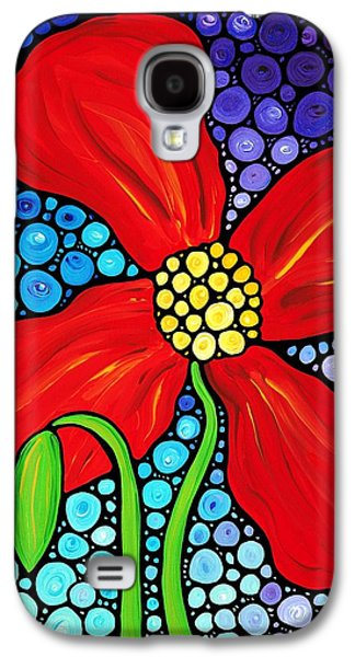 Cheerful Galaxy S4 Cases - Lady In Red - Poppy Flower Art by Sharon Cummings Galaxy S4 Case by Sharon Cummings