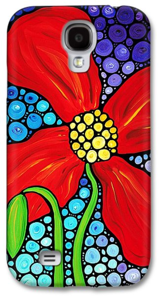 Floral Abstract Galaxy S4 Cases - Lady In Red - Poppy Flower Art by Sharon Cummings Galaxy S4 Case by Sharon Cummings