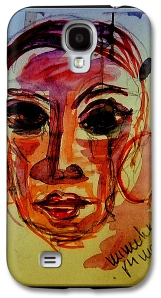 Tear Drawings Galaxy S4 Cases - Lady In Red - Silent Tears Galaxy S4 Case by Mimulux patricia no